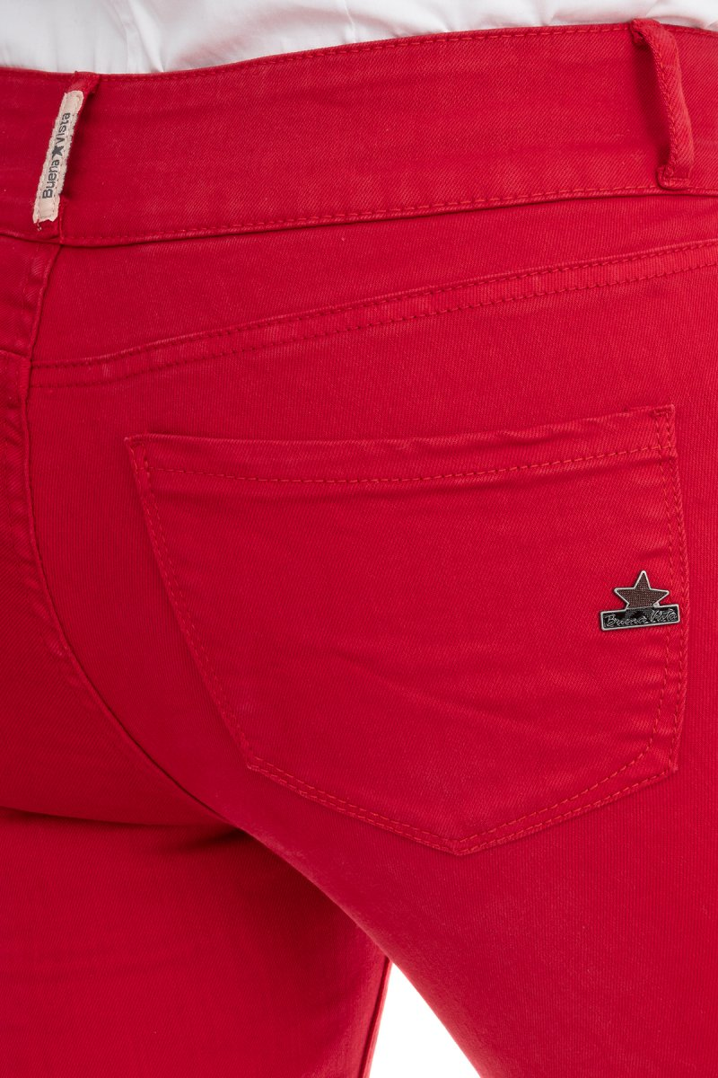 Buena Vista Jeans Tummyless Colour Denim Skinny/Röhre true red