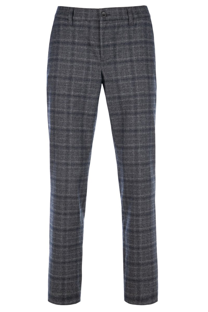 Alberto Chino Lou-J Ceramica Soft Check regular fit marine-grau