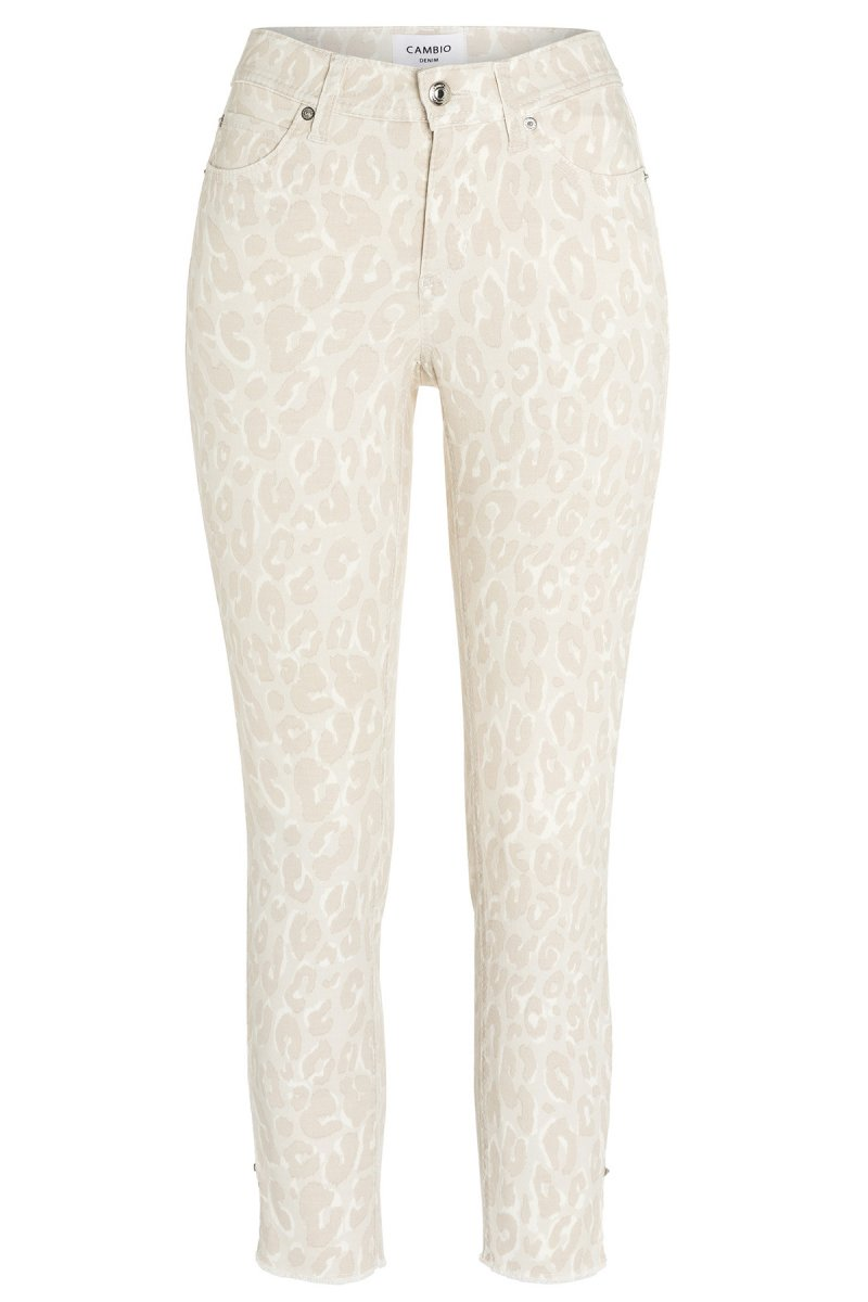 CAMBIO Jeans Parla Straight Fit soft beige leo