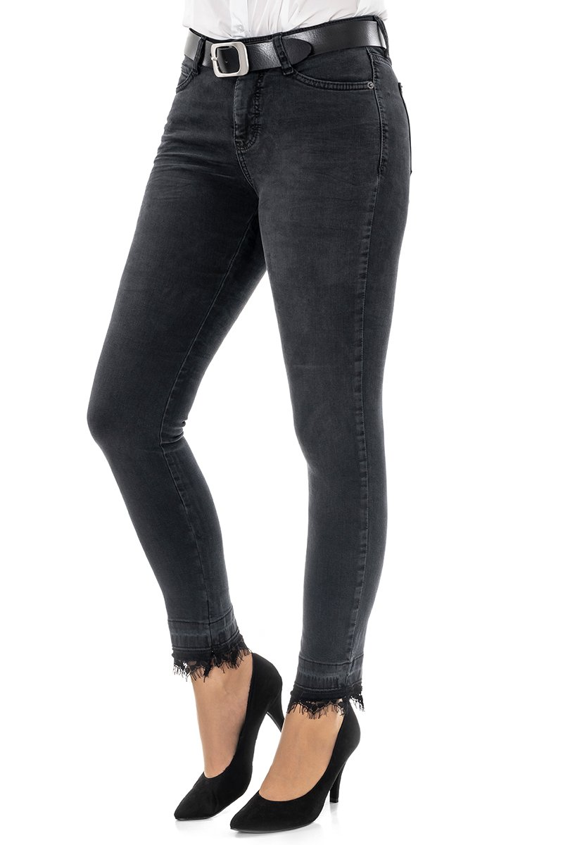Mac Jeans Skinny cropped lace Slim Fit anthra used