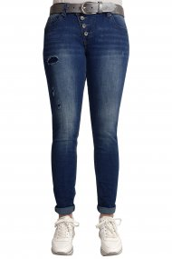 Buena Vista Jeans Malibu Stretch Denim Skinny/Röhre destroyed blue
