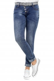 Buena Vista Jeans Malibu Stretch Denim Skinny/Röhre mid blue