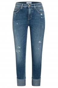 CAMBIO Jeans Kerry Straight Fit dark destroyed fringed