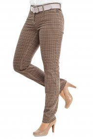 Toni Hose Perfect Shape Slim Fit pepita forest/cognac